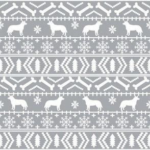 Australian Cattle Dog fair isle christmas sweater pattern print grey