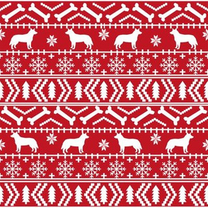 Australian Cattle Dog fair isle christmas sweater pattern print red