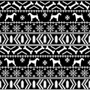 Airedale Terrier Dog fair isle christmas sweater pattern print bw