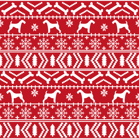 Airedale Terrier Dog fair isle christmas sweater pattern print red ...