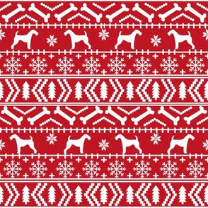 Airedale Terrier Dog fair isle christmas sweater pattern print red