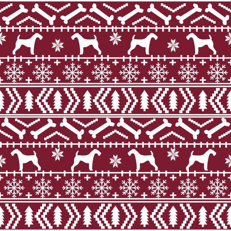 Airedale Terrier Dog fair isle christmas sweater pattern print ...