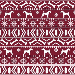 Airedale Terrier Dog fair isle christmas sweater pattern print dark red