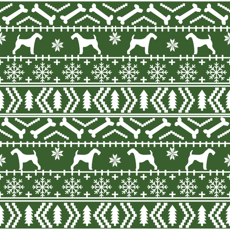 Airedale Terrier Dog fair isle christmas sweater pattern print med ...