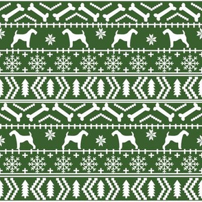 Airedale Terrier Dog fair isle christmas sweater pattern print med green