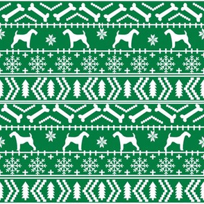 Airedale Terrier Dog fair isle christmas sweater pattern print bright green