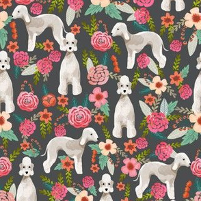 bedlington terrier florals fabric dog design - charcoal