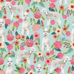 bedlington terrier florals fabric dog design - light blue