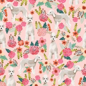 bedlington terrier florals fabric dog design - pink