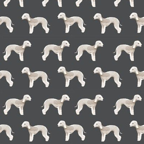bedlington terrier fabric  dogs pet design - charcoal