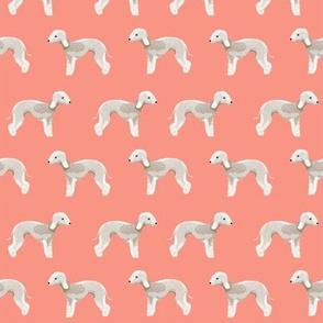 bedlington terrier fabric  dogs pet design - coral