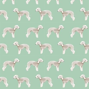 bedlington terrier fabric  dogs pet design - mint