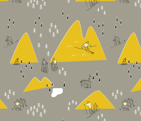 Winter Life - Grey & Gold - Large fabric by whyitsme_design on Spoonflower - custom fabric