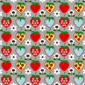 strawberry flower_gray