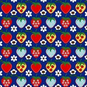 strawberry flower_navy