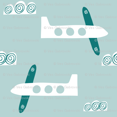 Airplanes in clouds fabric cute boys print