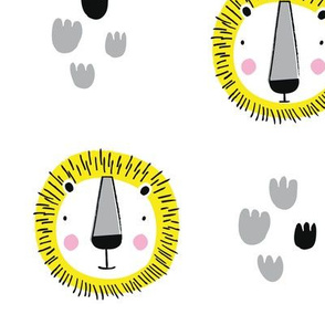 Cute Lion Yellow jungle pattern safari friends