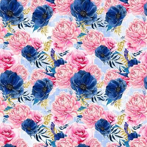 Floral on Blue Grid