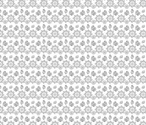 Butterflies, Ladybugs and Flowers in Black and White fabric by jessicamcgrath on Spoonflower - custom fabric