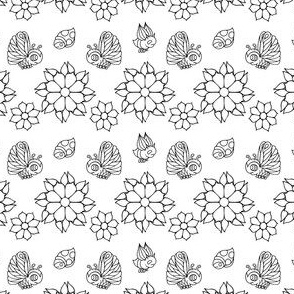 Butterflies, Ladybugs and Flowers in Black and White