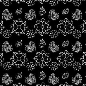 Butterflies and Flowers in Black and White