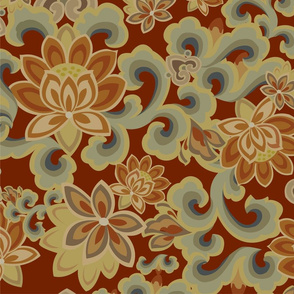 A red floral fabric
