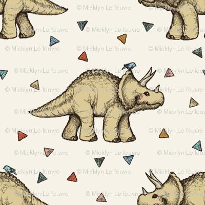 Triceratops and Triangles on cream, medium