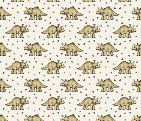 Triceratops and Triangles on cream, medium fabric by micklyn on Spoonflower - custom fabric