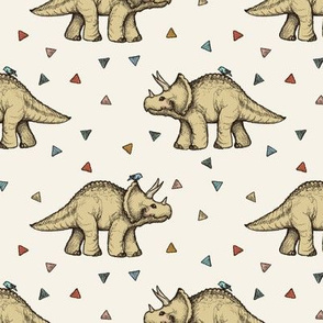 Triceratops and Triangles on cream, medium