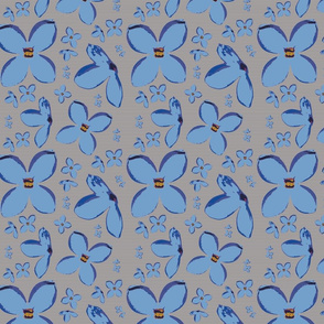 Blue Lilac Flowers Upholstery Fabric