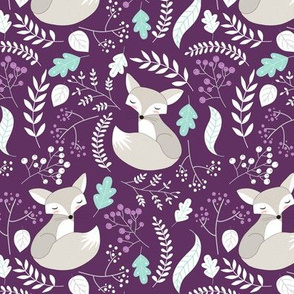 Gray Fox - Sleepy Foxes (plum) Baby Girl Nursery Woodland Animals Kids Childrens Bedding PL2