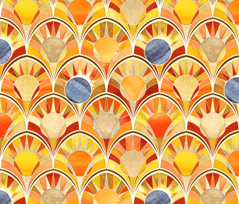 Once in a Blue Moon - Art Deco Solar Eclipse fabric by micklyn on Spoonflower - custom fabric