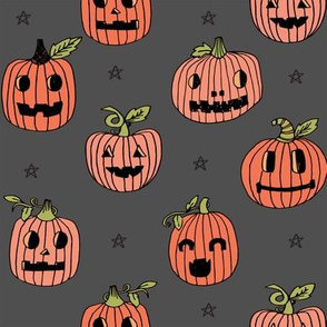 Jack-o'-lantern halloween cute pumpkin carving hand drawn pattern  charcoal by andrea lauren