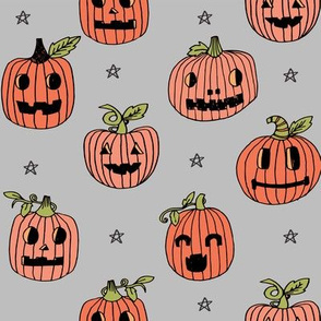 Jack-o'-lantern halloween cute pumpkin carving hand drawn pattern grey  by andrea lauren