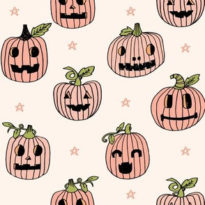 Jack-o'-lantern halloween cute pumpkin carving hand drawn pattern  lite by andrea lauren