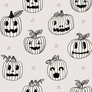Jack-o'-lantern halloween cute pumpkin carving hand drawn pattern tan  by andrea lauren