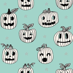 Jack-o'-lantern halloween cute pumpkin carving hand drawn pattern neutral mint by andrea lauren