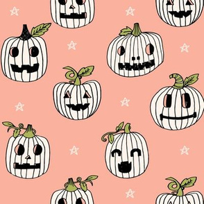 Jack-o'-lantern halloween cute pumpkin carving hand drawn pattern  neutral by andrea lauren