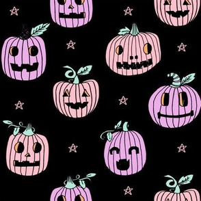 Jack-o'-lantern halloween cute pumpkin carving hand drawn pattern  black pastel by andrea lauren