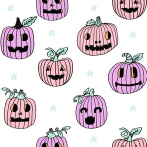 Jack-o'-lantern halloween cute pumpkin carving hand drawn pattern  pastel by andrea lauren