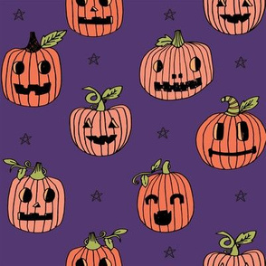 Jack-o'-lantern halloween cute pumpkin carving hand drawn pattern  purple by andrea lauren