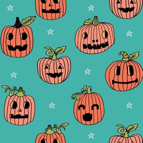 Jack-o'-lantern halloween cute pumpkin carving hand drawn pattern turquoise  by andrea lauren