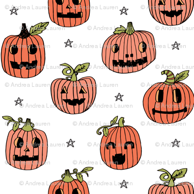 Jack-o'-lantern halloween cute pumpkin carving hand drawn pattern white by andrea lauren
