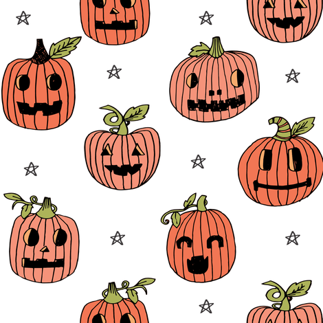 Jack-o'-lantern halloween cute pumpkin carving hand drawn pattern white by andrea lauren fabric by andrea_lauren on Spoonflower - custom fabric