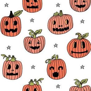 Jack-o'-lantern halloween cute pumpkin carving hand drawn pattern white by andrea lauren