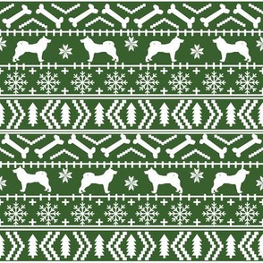 Akita fair isle christmas dog fabric pattern med green