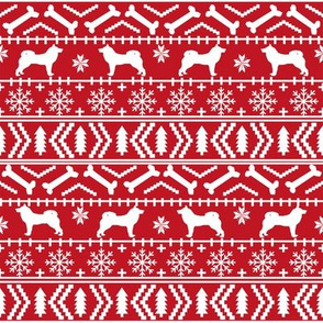 Akita fair isle christmas dog fabric pattern red