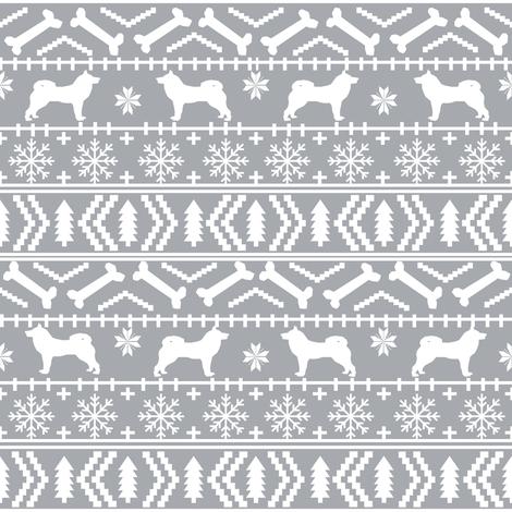 Akita fair isle christmas dog fabric pattern grey fabric ...