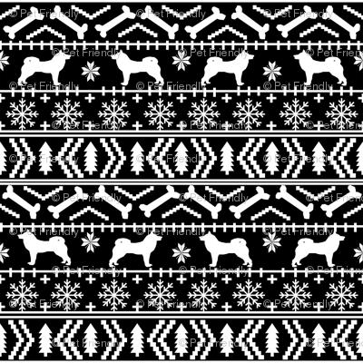Akita fair isle christmas dog fabric pattern black fabric ...