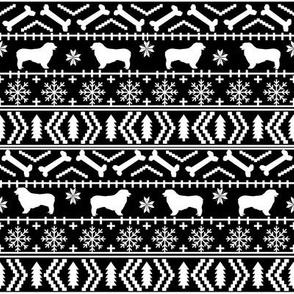 Australian Shepherd fair isle christmas dog fabric pattern black